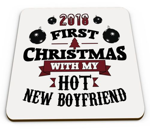 2018 First Christmas With Hot New... Funny Novelty Glossy Mug Coaster